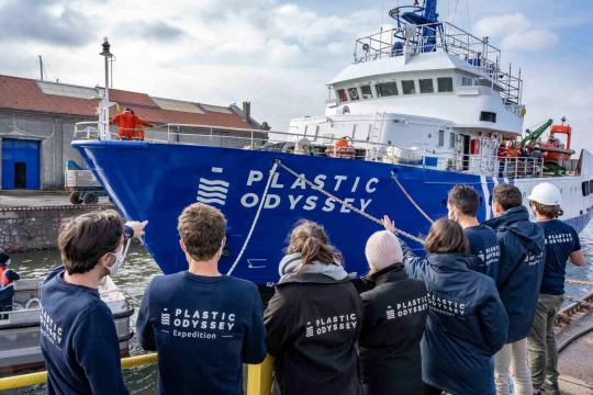 Building a cleaner future: Total Lubmarine supplies lubricants to the laboratory ship, Plastic Odyssey, to increase efforts to reduce and recycle plastic waste.