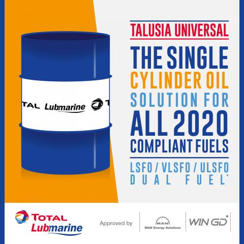TALUSIA UNIVERSAL The Single Cylinder Oil Solution for all 2020 compliant fuels