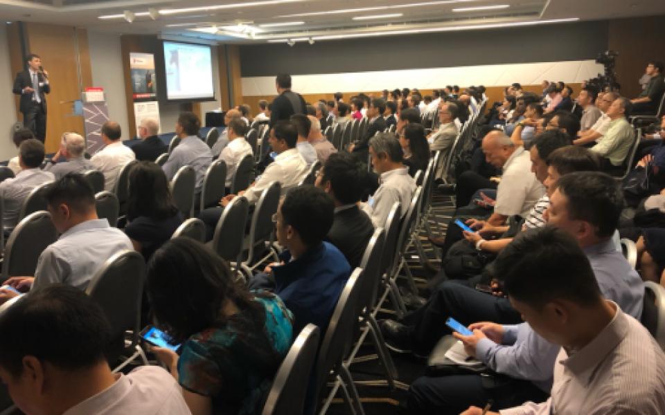 A full room of +200 people at Total Global Sulfur Cap Forum in Singapore
